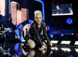 Pink performs during Night 2 of the 2012 iHeartRadio Music Festival at MGM Grand Garden Arena on Saturday, Sept. 22, 2012.