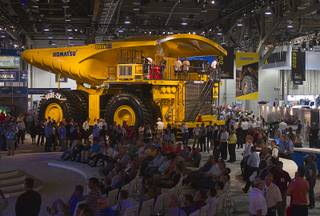 A Komatsu mining truck is displayed during the MINExpo International 2012 trade show at the Las Vegas Convention Center Monday, Sept. 24, 2012.
