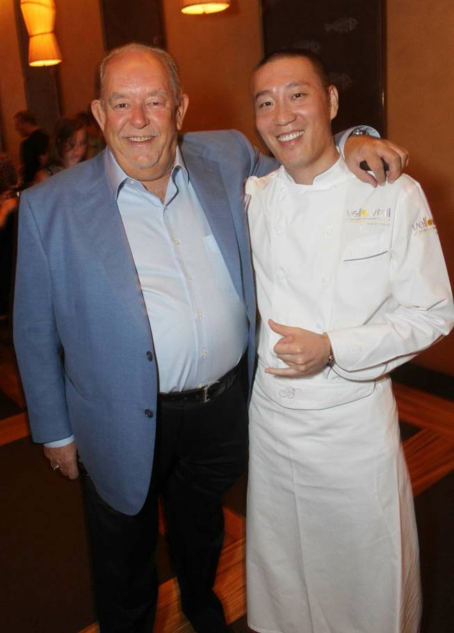 Robin Leach with chef Akira Back at Yellowtail in the Bellagio.