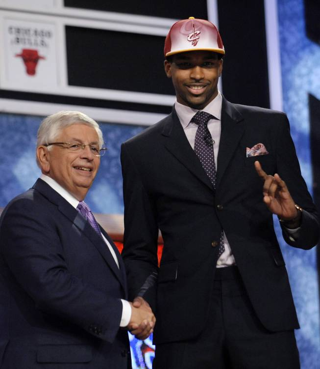 Former Findlay Prep forward Tristan Thompson, right, greets NBA Commissioner David Stern after being selected fourth overall by the Cleveland Cavaliers in the 2011 NBA draft. Thompson was the first of three Pilots taken in the draft, including Texas teammate Cory Joseph to the San Antonio Spurs at No. 29 and DeAndre Liggins out of Kentucky to the Orlando Magic at No. 53.