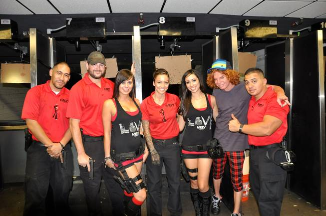 Carrot Top, second from right, at Machine Guns Vegas.