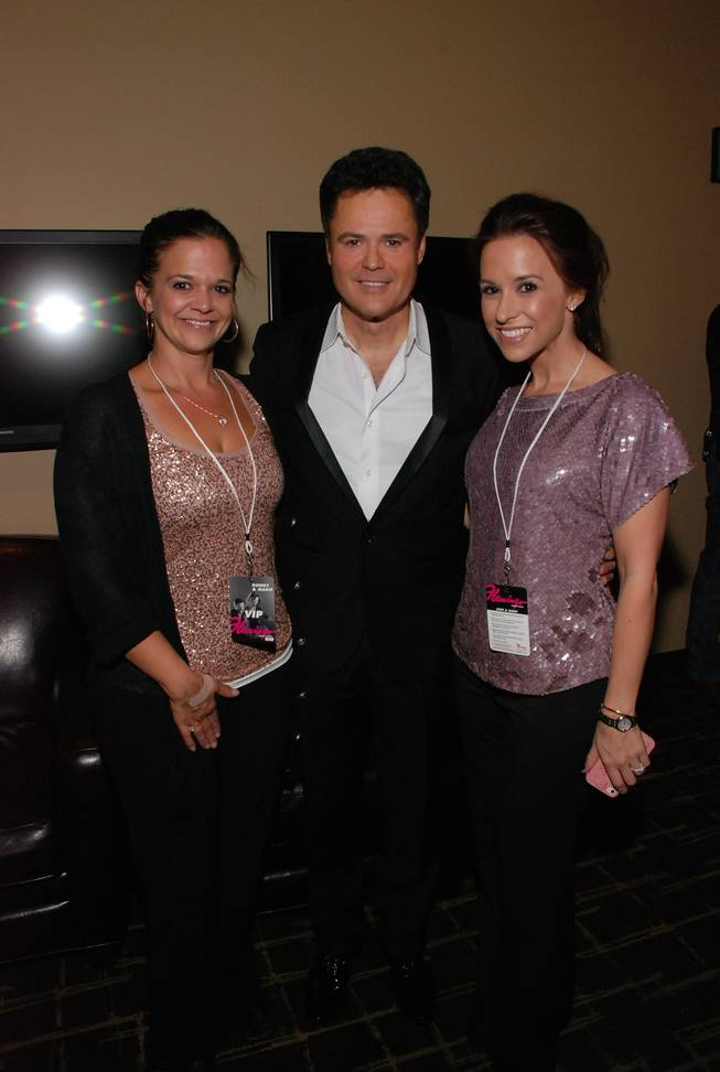 Lacey Chabert, right, with Donny Osmond and her sister at the Flamingo on Wednesday, Sept. 26, 2012.