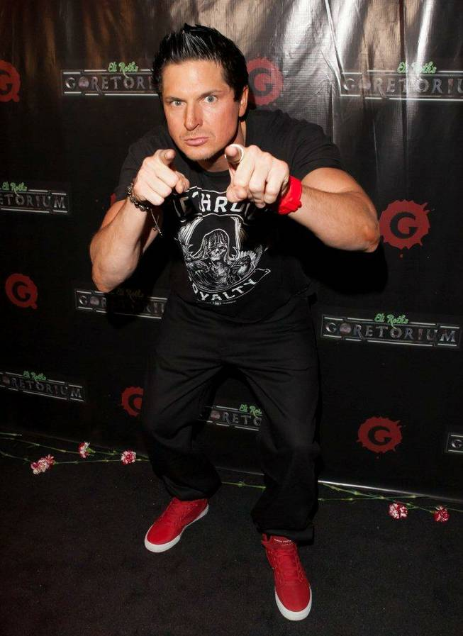 Zak Bagans arrives on the VIP blood red carpet for Eli Roth's Goretorium on the Strip on Thursday, Sept. 27, 2012.