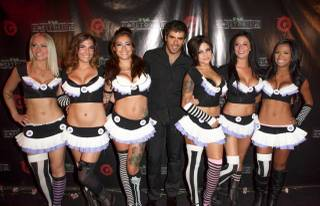 Eli Roth arrives on the VIP blood red carpet for his Goretorium on the Strip on Thursday, Sept. 27, 2012.