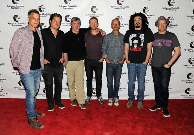 Charlie Gillingham, David Immergluck, Millard Powers, Jim Bogios, David Bryson, Adam Duritz and Dan Vickrey of the Counting Crows arrive at the Epicurean Charitable Foundation's 11th Annual M.E.N.U.S. scholarship fundraiser at the M Resort on Friday, Sept. 28, 2012.