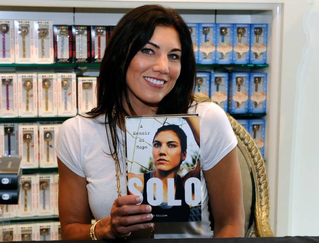 Hope Solo's book signing at Sugar Factory in the Paris ...