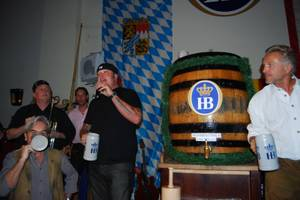 Corey Harrison Taps Keg at Hofbrauhaus for 2012 Oktoberfest