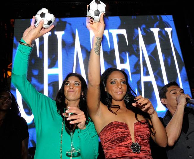 Hope Solo and Sydney Leroux at Chateau Nightclub & Gardens ...