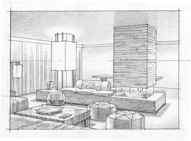 An artist's rendering of the Sake Suite at the Nobu Hotel, among those that went on sale to the public on Oct. 1, 2012, at Caesars Palace.