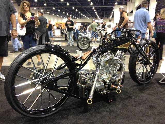 Shaun Ruddy, of Las Vegas, won the People's Choice Award for his stripped-down low-rider, which takes its design cues from World War I-era motorized bicycles.