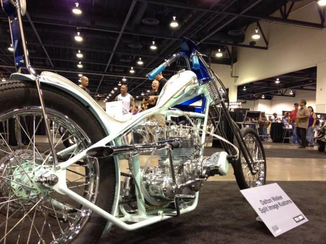 Dalton Walker, of Hanford, Calif., looked to '70s choppers as the design inspiration for his entry. The bike features skinny tires, a wispy frame and minimal instrumentation. It also boasts an engine from British bike manufacturer Triumph, a rarity in a field in which many bikes featured Harley-Davidson power plants.