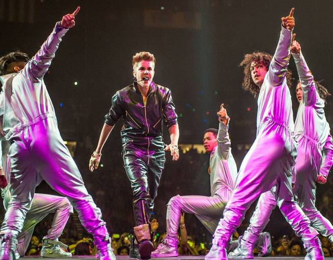 Justin Bieber performs at MGM Grand Garden Arena on Sunday, ...
