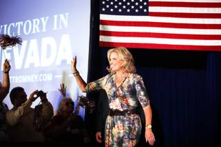 Ann Romney speaks at a campaign rally inside the Henderson Convention Center on Monday, October 1, 2012.