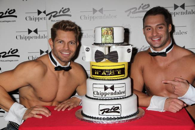 "Team Chippendales Jaymes Vaughan and James Davis celebrate their ""The Amazing Race"" Season 21 premiere with a private screening and party hosted by Chippendales and the Rio in the Chippendales Theater at the Rio on Sunday, Sept. 30, 2012."