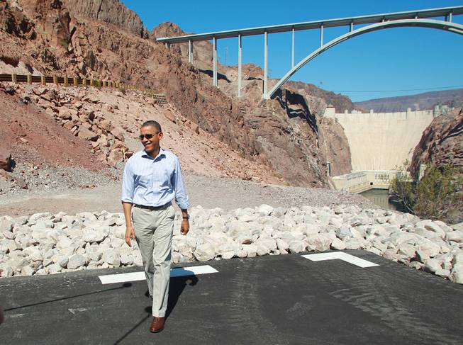 President Barack Obama visits the Hoover Dam while taking a break from debate preparations Tuesday, Oct. 2, 2012.