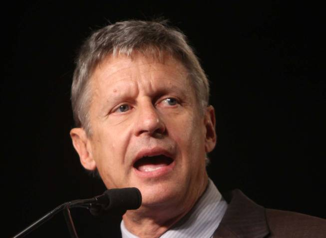 In this Sept 23, 2011 file photo, Libertarian Party presidential candidate, former New Mexico Gov.  Gary Johnson speaks in Orlando, Fla.