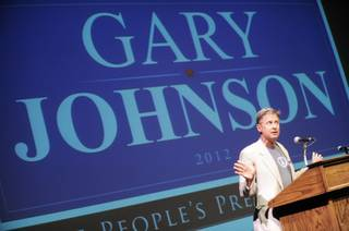 Former two-term governor of New Mexico and Libertarian presidential candidate Gary Johnson speaks at Duke University, in Durham N.C., Thursday, Sept. 20, 2012, as part of his 15-stop nationwide college tour.