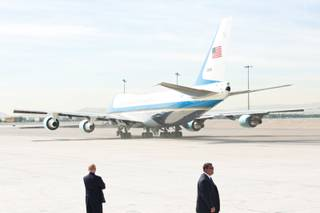 President Obama departs Las Vegas via McCarran International Airport after a 3-day stay, Wednesday Oct. 3, 2012.
