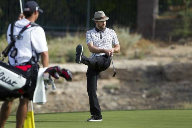 Justin Timberlake reacts after missing a putt on the 15th green during the Pro-Am portion of the Justin Timberlake Shriners Hospitals for Children Open at TPC Summerlin Wednesday, Oct. 3 2012. . STEVE MARCUS