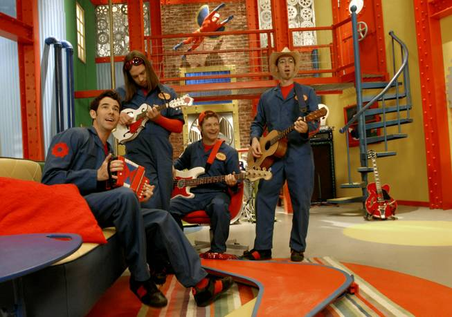 Imagination Movers, from left, Rich Collins, Scott Durbin, Dave Poche, Scott Smitty Smith rehearse on the studio on the set of their Disney televsion show in Harahan, La., Dec. 12, 2007.