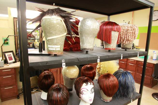 "Wigs wait to be worked on backstage as the Cirque du Soleil show ""Zarkana"" moves in to its new residence at Aria Thursday, Oct. 4, 2012."