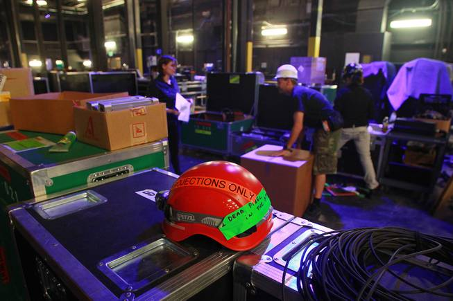 "A safety helmet sits backstage as the Cirque du Soleil show ""Zarkana"" moves in to its new residence at Aria Thursday, Oct. 4, 2012."