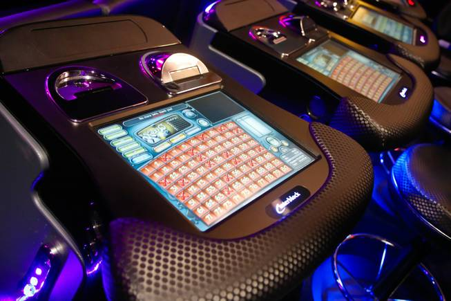 A view of Interblock's electronic gaming machine that ties in with the holographic display Thursday Oct. 4, 2012.