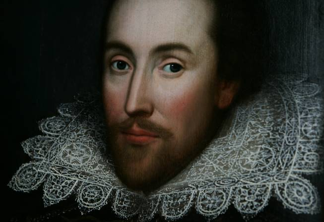 A detail of the newly discovered portrait of William Shakespeare, presented by the Shakespeare Birthplace trust, is seen in central London, Monday March 9, 2009. The portrait, believed to be almost the only authentic image of the writer made from life, has belonged to one family for centuries but was not recognized as a portrait of Shakespeare until recently. There are very few likenesses of Shakespeare, who died in 1616.