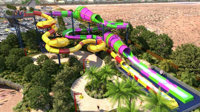 A rendering  of the Rattler and Constrictor attractions at the Wet 'n' Wild Las Vegas water park.