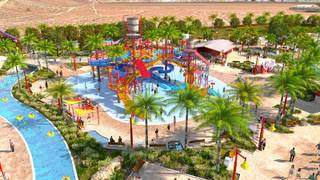 A rendering  of the Splash Island attraction at the Wet 'n' Wild Las Vegas water park.