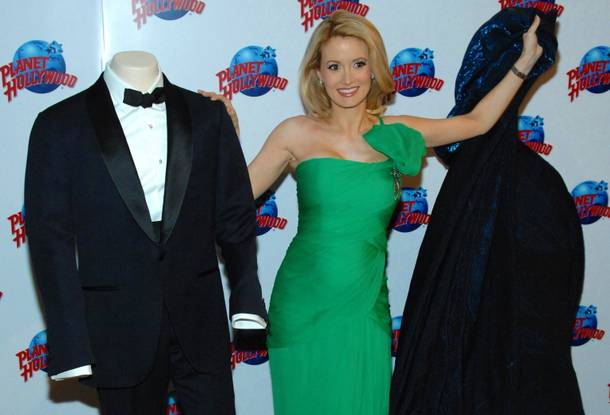 Holly Madison unveils the Tom Ford tuxedo worn by Daniel Craig in the next James Bond film