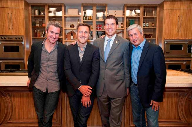 Master Sommeliers Richard Betts, Bobby Stuckey, Jason Smith and Emmanuel Kemiji at Bellagio's Tuscany Kitchen for the Third Annual Food & Wine All-Star Weekend on Friday, Oct. 5, 2012.