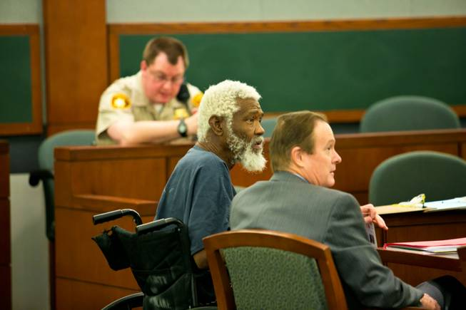 Nathan Burkett, accused in the decades-old deaths of two Las Vegas women, appears in court at the Regional Justice Center, Friday Oct. 5, 2012.