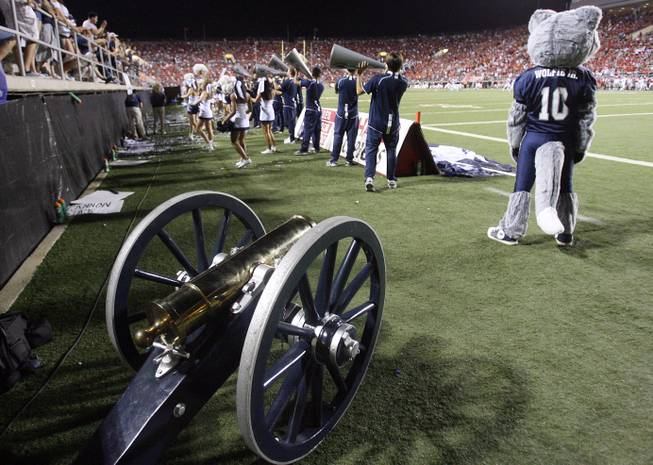 The Fremont Cannon sat in the corner of Sam Boyd Stadium on Oct. 2, 2010, as UNR defeated UNLV 44-26 and kept the trophy. The teams get together Saturday at noon in Las Vegas with the Rebels trying to snap a seven-game losing streak in the series.