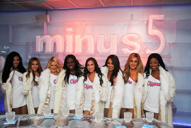 The Clippers cheerleaders at Minus 5 Ice Bar in Mandalay Place.