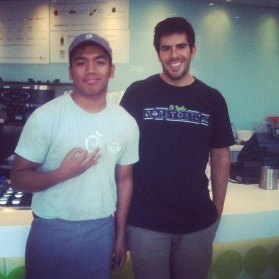 Eli Roth, right, at Pinkberry.