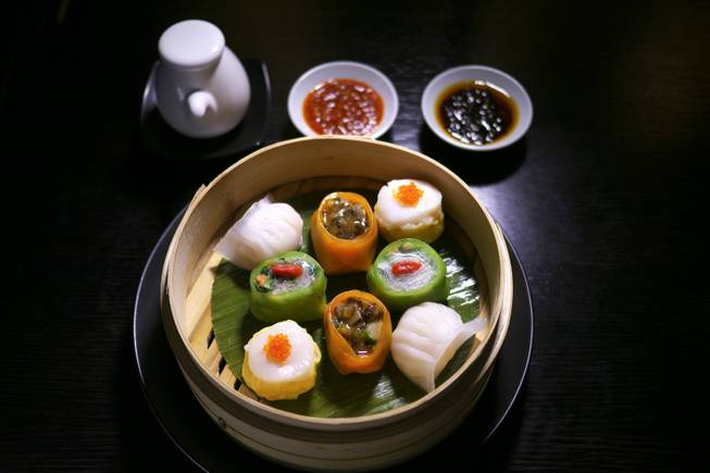 The steamed dim sum platter at Hakkasan Las Vegas at MGM Grand.