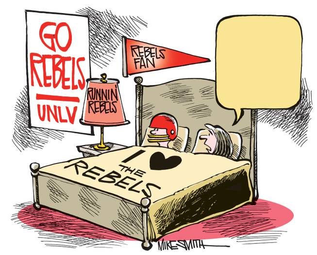 What is the wife of this UNLV Rebels fan saying? You get to fill in the blank in the Smithereens Cartoon Caption Contest.