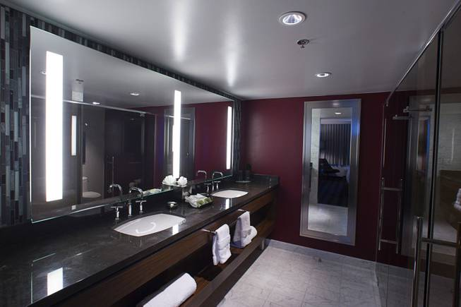 The bathroom of a renovated suite is shown at the D Las Vegas in downtown Las Vegas Tuesday, Oct. 9, 2012. The casino, formerly Fitzgeralds, is celebrating it's rebranding and renovation with festivities this weekend.