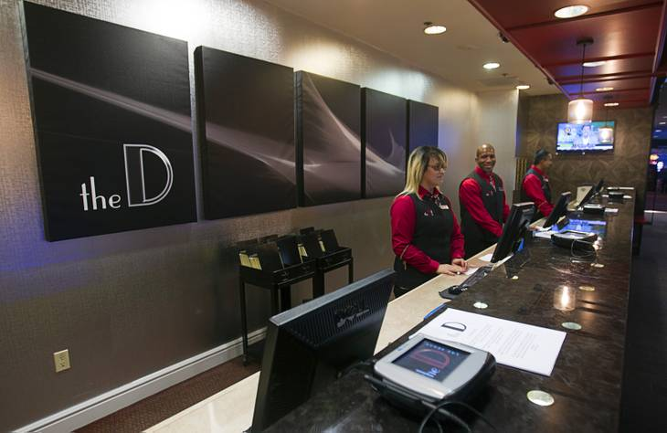 The front desk is shown at the D Las Vegas in downtown Las Vegas Tuesday, Oct. 9, 2012. The casino, formerly Fitzgeralds, is celebrating it's rebranding and renovation with festivities this weekend.