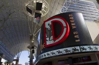 New signage and video screens adorn the front of the D Las Vegas in downtown Las Vegas Tuesday, Oct. 9, 2012.