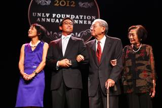 The Lee Family is honored at the Palladium Society Awards Ceremony during the UNLV Foundation Annual Dinner at the Bellagio in Las Vegas on Tuesday, October 9, 2012. From left is Dana, Greg, Theodore and Doris Lee.