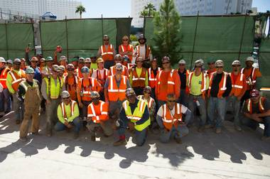 Construction workers rubbed shoulders with MGM Resorts International executives and Hakkasan Las Vegas restaurant nightclub operators ...
