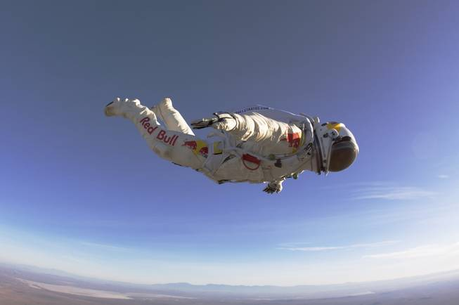 In this 2010 photo provided by Red Bull Stratos, Felix Baumgartner makes a 25,000-foot high test jump for Red Bull Stratos.