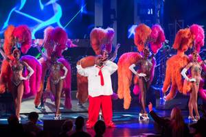 "The ""CeeLo and Friends"" Christmas show and Keep Memory Alive fundraiser featuring CeeLo Green (pictured here with dancers from ""Jubilee!"" at Bally's), Rod Stewart, the Muppets and ""The Voice"" contestants at Peepshow Theater in Planet Hollywood on Wednesday, Oct. 10, 2012."