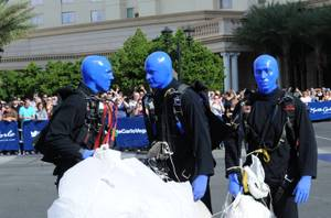 Blue Man Group Skydives to Monte Carlo