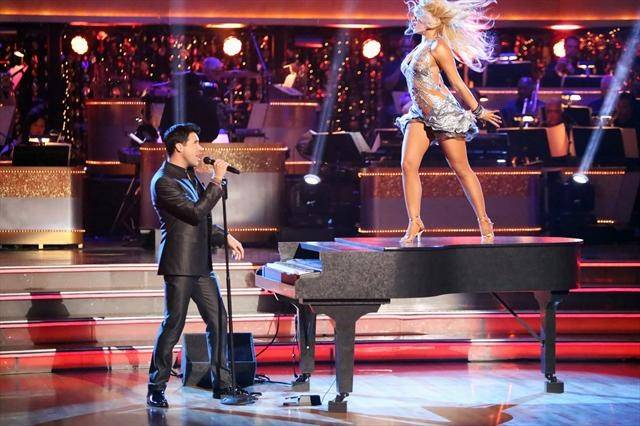 "Stratosphere headliner Frankie Moreno performs accompanied by special guest Lacey Schwimmer on ABC's ""Dancing With the Stars"" on Tuesday, Oct. 9, 2012."