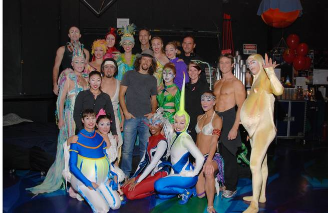 "Jason Mraz with ""Mystere"" cast members at Treasure Island on Monday, Oct. 8, 2012."