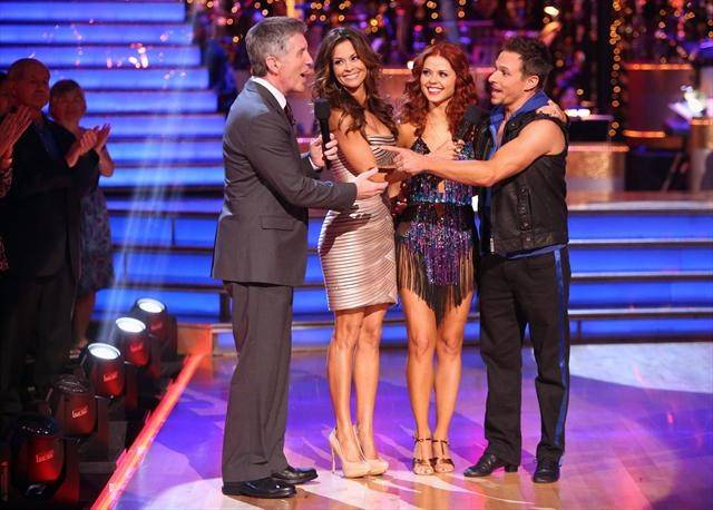 "Tom Bergeron, Brooke Burke-Charvet, Anna Trebunskaya and Drew Lachey on ABC's ""Dancing With the Stars"" on Tuesday, Oct. 9, 2012."