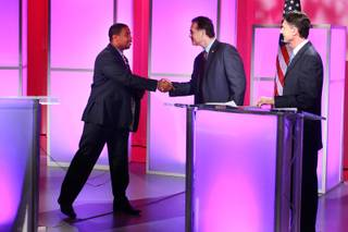 Fourth Congressional District  candidates Steven Horsford and Danny Tarkanian shake hands after a debate sponsored by Vegas PBS Thursday, Oct. 11, 2012.